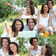 Couple enjoying romantic picnic