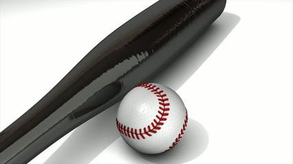 Baseball animation, ball and bat over white.