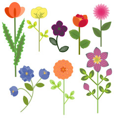 Set of decorative multicolored flowers