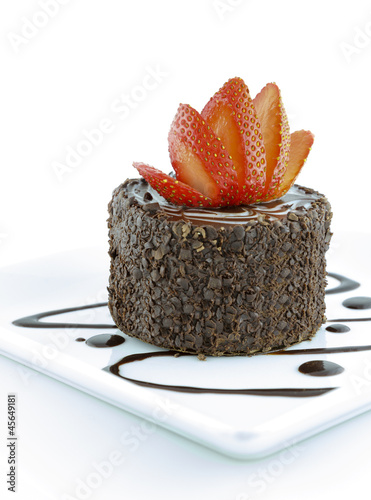 Chocolate pastry and strawberry