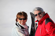 senior couple on a ski vacation