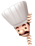Chef stuck his head out of a signboard. 3D Chef Character