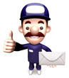Service man holding a letter. 3D Service Man Character