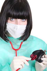 Female doctor using her stethoscope on a wallet