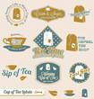 Vector Set: Retro Tea Time Labels and Stickers