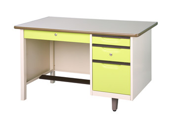 Steel working desk in bright green color isolated on white backg