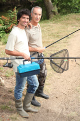 Father and son on fishing trip