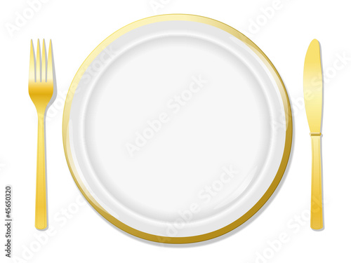 Golden plate, fork and knife