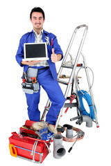plumber with laptop