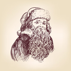 Santa Claus hand drawn vector llustration realistic sketch