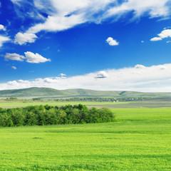 Mountainous terrain and the blue sky.