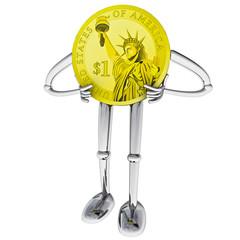 dollar coin robot figure positive standing pose illustration