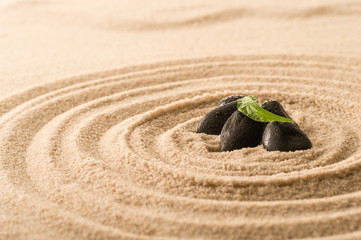 Spa still nature zen stones in sand