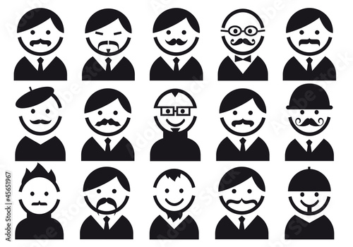 heads with mustaches, vector people icon set