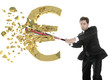British businessman breaks the euro with a baseball bat