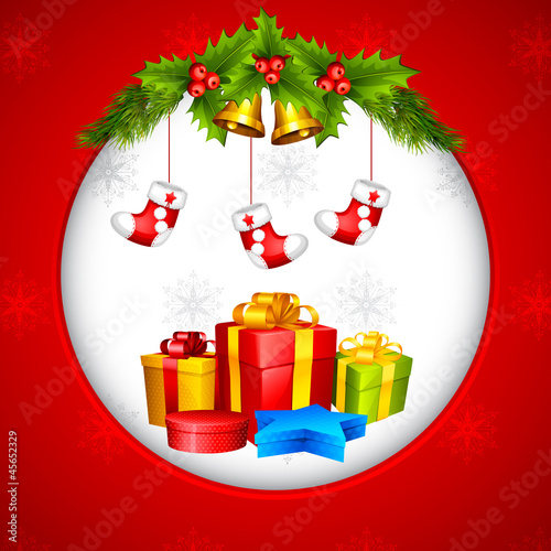 vector illustration of Christmas stocking and gift box