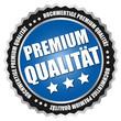 """Button """"Premium Qualität"""" Blau/Schwarz/Silber"""