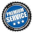 """Button """"Premium Service"""" Blau/Schwarz/Silber"""