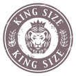 Grunge rubber stamp with Lion head and the words King Size