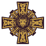 Lion head and iron cross, vector illustration