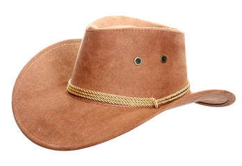 Cowboy hat on a white background.