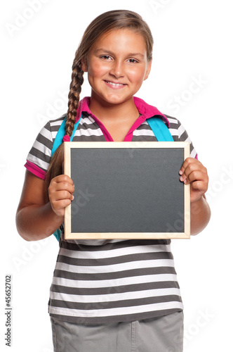 Schoolgirl with small blackboard