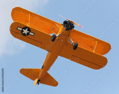 Yellow biplane.