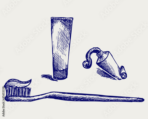 Toothbrush and toothpaste. Doodle style