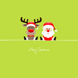 Sitting Rudolph & Santa Light Green Background