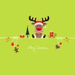 Sitting Christmas Reindeer & Symbols Light Green