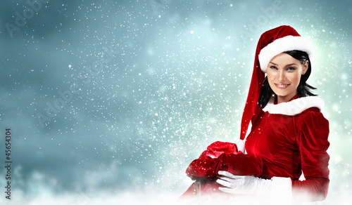 Leinwanddruck Bild beautiful girl in santa costume