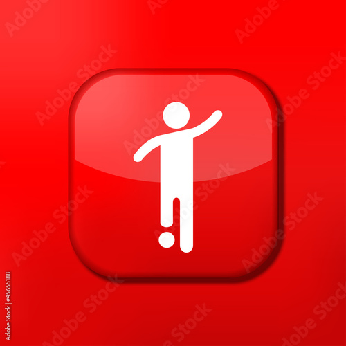 Vector red footballer icon. Eps10. Easy to edit