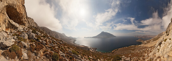 Sea and rocks landscape, Kalymnos Island, Greece