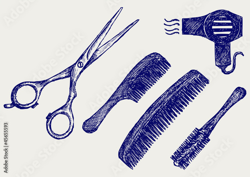 Scissors and Comb for hair. Doodle style