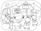 Cartoon pupils going to school with school-bus