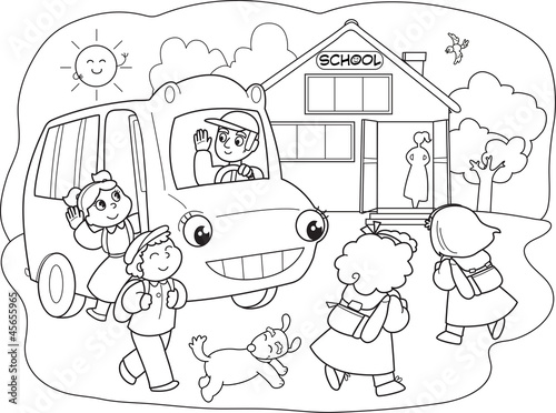 School Cartoon Drawing Cartoon Pupils Going to