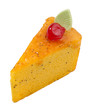 colorful orange cake topping with cherry isolates
