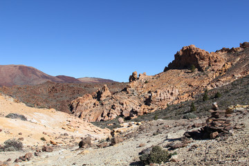 Rocky landscape at a volcano Teide. Tenerife, Spain