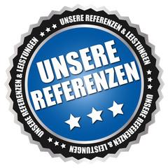 """Button """"Unsere Referenzen"""" Blau/Schwarz/Silber"""