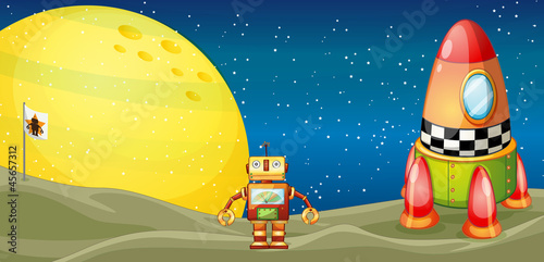 robot and space shuttle