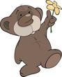 Bear cub and a flower. Cartoon