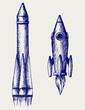 Retro rocket. Doodle style