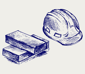 Hard hat and bricks. Doodle style