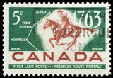 Mail stamp featuring the first Canadian postal route, circa 1963