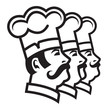 monochrome illustration of three mustachioed chefs