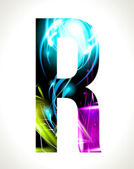 Vector design light effect alphabet. Letter  R.
