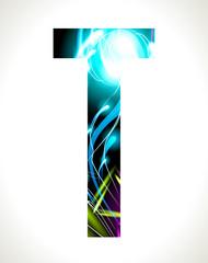 Vector design light effect alphabet. Letter  T.
