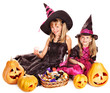 Witch children at Halloween party.