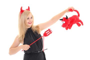 Girl in imp costume with bull