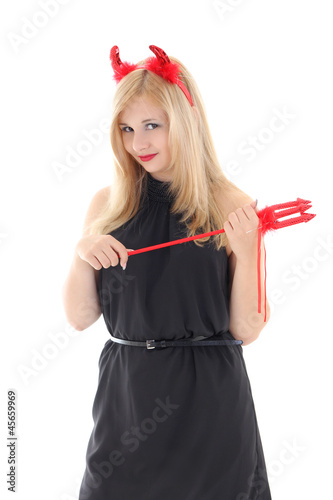 Blonde girl with horns and trident